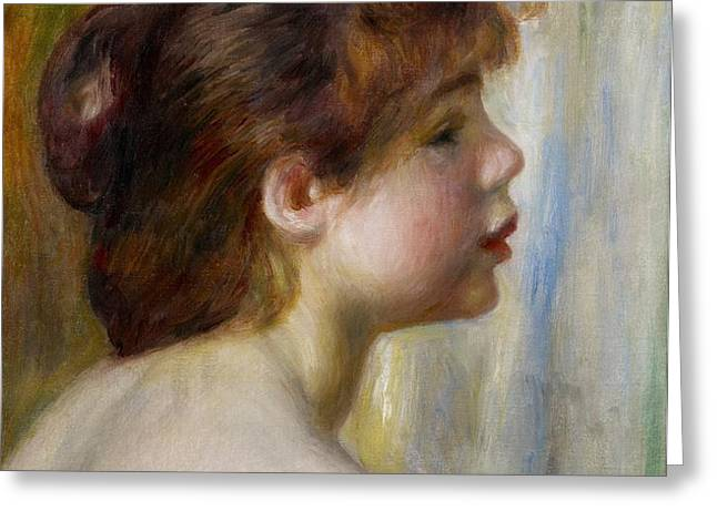 Head of a young woman Greeting Card by Pierre Auguste Renoir