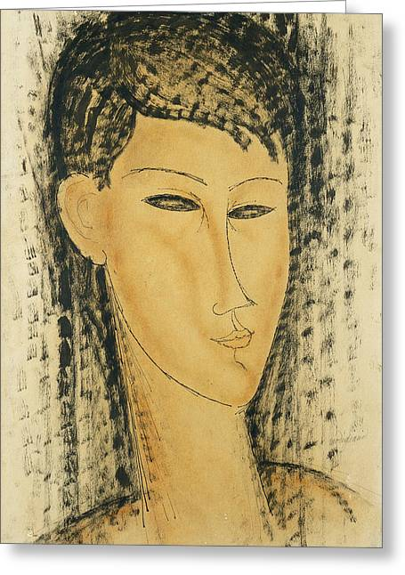 Black Hair Greeting Cards - Head of a Young Women Greeting Card by Amedeo Modigliani