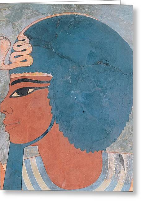 Pharaoh Photographs Greeting Cards - Head Of Amenophis Iii From The Tomb Of Onsou, 18th Dynasty, 1550-1295 Bc Mural Greeting Card by Egyptian 18th Dynasty