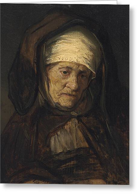 Woman Head Prints Greeting Cards - Head of an Aged Woman Greeting Card by Rembrandt