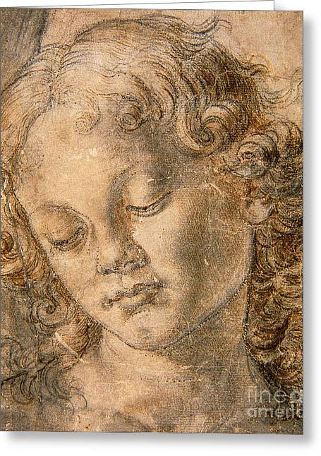 Innocent Greeting Cards - Head of an Angel Greeting Card by Andrea del Verrocchio