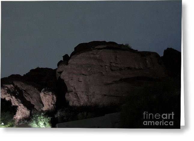 Camelback Mountain Greeting Cards - Head of Camelback Mountain at Night Greeting Card by Jim Williams Jr