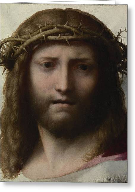 Jesus Greeting Cards - Head Of Christ, C.1530 Oil On Panel Greeting Card by Correggio