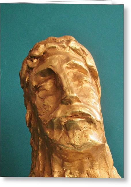 Christ Sculptures Greeting Cards - Head of Christ 2014 Greeting Card by Karl Leonhardtsberger