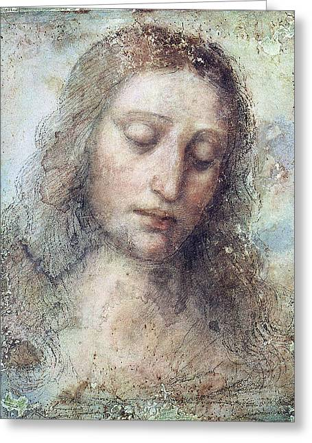 Religious Drawings Greeting Cards - Head of Christ Greeting Card by Karon Melillo DeVega