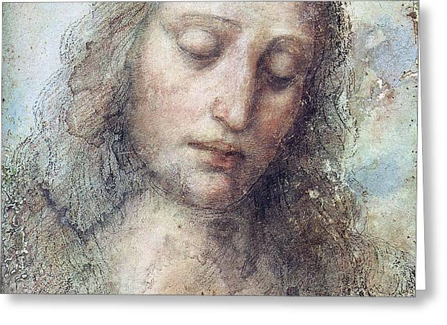 Head of Christ Greeting Card by Karon Melillo DeVega