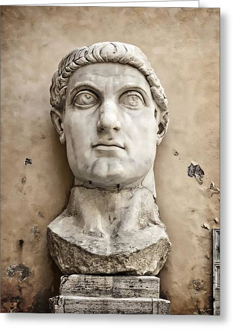 Colossal Greeting Cards - Head of Constantine Greeting Card by Joan Carroll