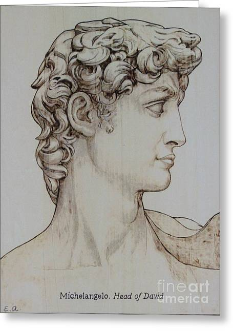 Biblical Pyrography Greeting Cards - Head of David Greeting Card by Eileen Annest