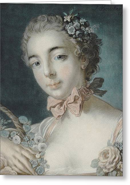 Goddess Print Greeting Cards - Head of Flora Greeting Card by Francois Boucher