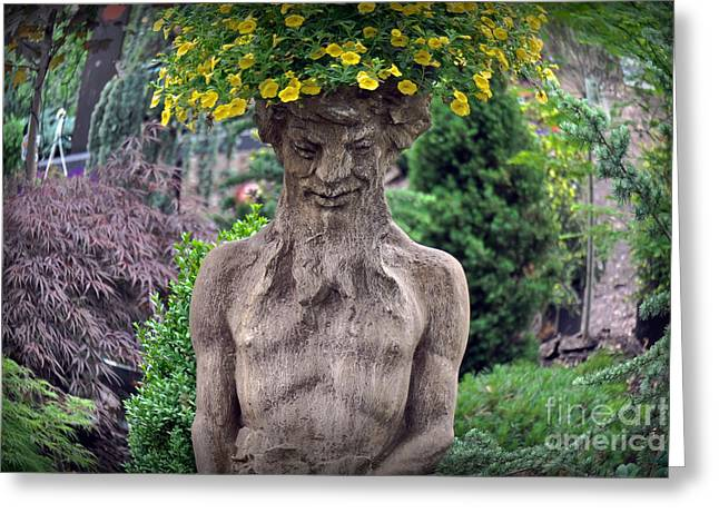 Concrete Planter Greeting Cards - Head Of Flowers Greeting Card by Gary Keesler