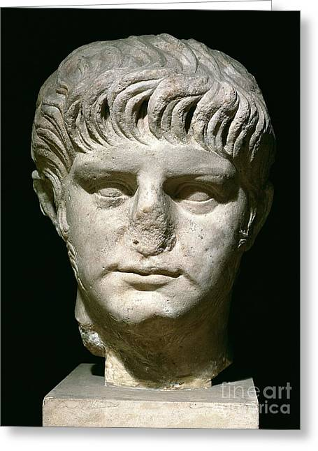 Sculptures Sculptures Greeting Cards - Head of Nero Greeting Card by Anonymous