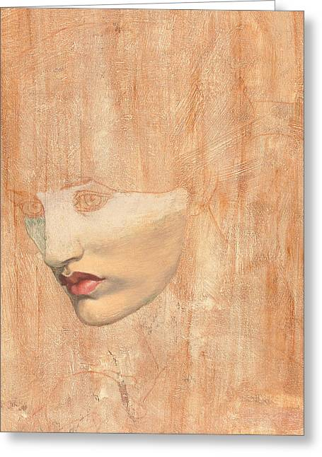 Pensive Drawings Greeting Cards - Head of Proserpine Greeting Card by Dante Gabriel Charles Rossetti