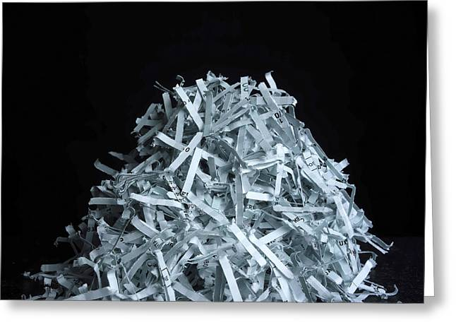 Destruction Greeting Cards - Head of shredded paper Greeting Card by Bernard Jaubert