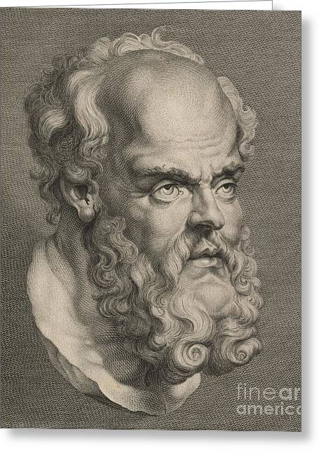 Western Script Greeting Cards - Head of Socrates Greeting Card by Anonymous