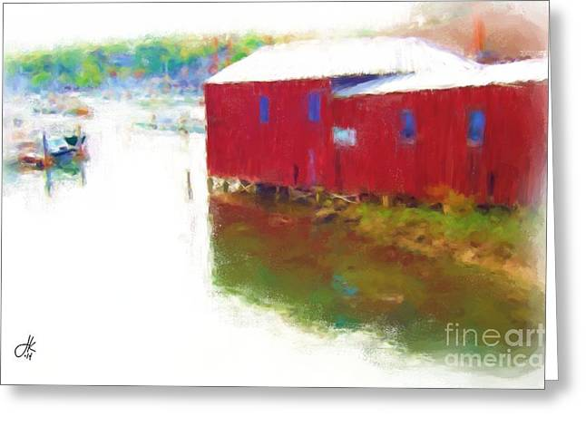 Red Buildings Pastels Greeting Cards - Head Of The Harbor Greeting Card by Julie Knapp