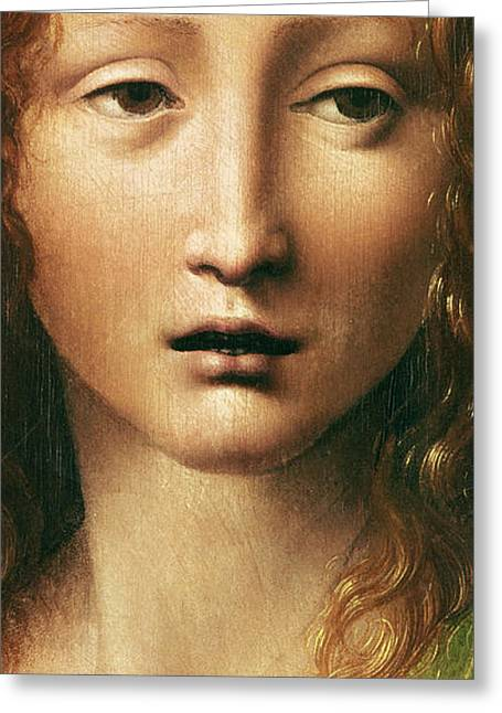 Davinci Greeting Cards - Head of the Savior Greeting Card by Leonardo Da Vinci