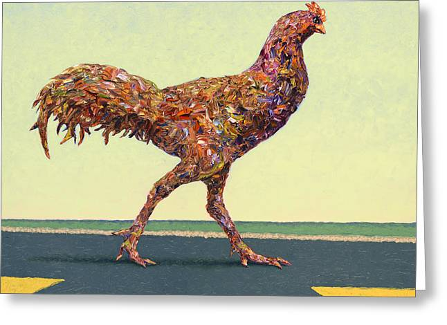 James Paintings Greeting Cards - Head-on Chicken Greeting Card by James W Johnson