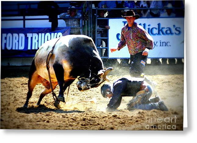 Bull Rider Greeting Cards - Head to Head Greeting Card by Bill Keiran