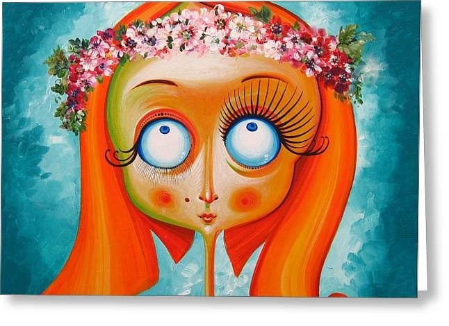 Har Greeting Cards - Head with Wreath of Flowers - Acrylic on Canvas Greeting Card by Tiberiu Soos