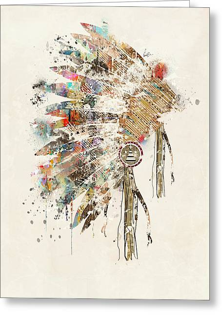 Native American Illustration Greeting Cards - Headdress Greeting Card by Bri Buckley