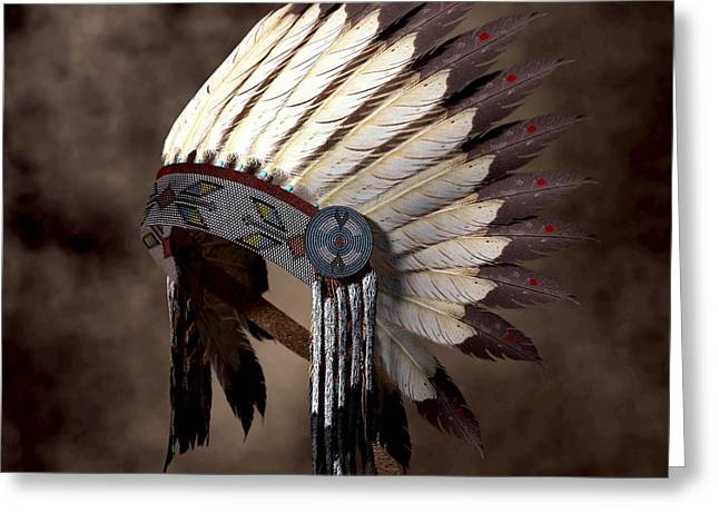 Spirit Guides Greeting Cards - Headdress Greeting Card by Daniel Eskridge