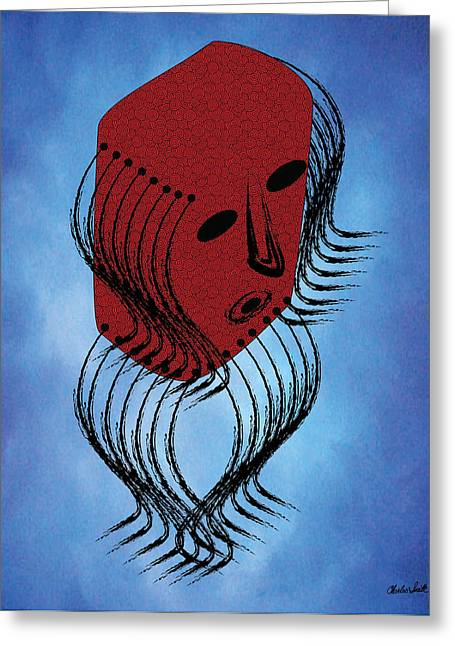 Headdress Mask Greeting Card by Charles Smith