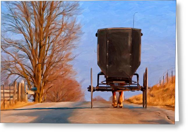 Amish Paintings Greeting Cards - Headed Home Greeting Card by Michael Pickett