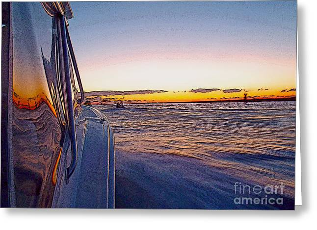 Sportfishing Boats Greeting Cards - Headed Out Greeting Card by Carey Chen
