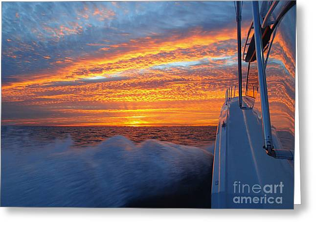 Sportfishing Boats Greeting Cards - Headed out  Greeting Card by Stephanie Gordon
