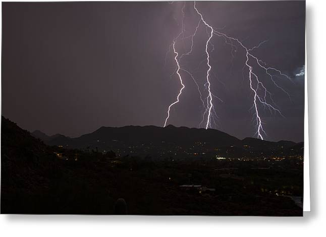 Arizona Lightning Greeting Cards - Headed West Greeting Card by Cathy Franklin