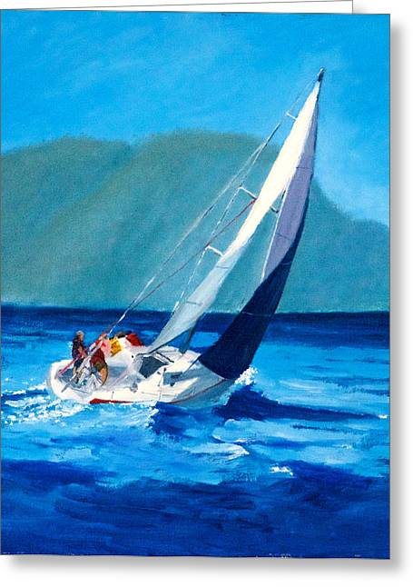 Sailboat Ocean Greeting Cards - Heading Around the Point Greeting Card by Ed Herring