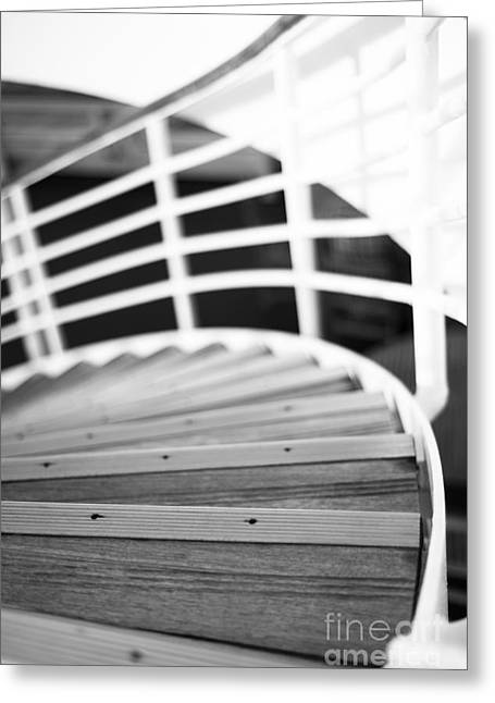 Wooden Ship Greeting Cards - Heading Down in Monochrome Greeting Card by Anne Gilbert