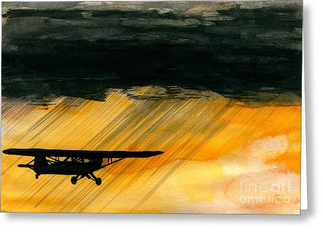 Propeller Paintings Greeting Cards - Heading for the Hole Greeting Card by R Kyllo
