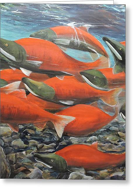 Sockeye Paintings Greeting Cards - Heading Home Greeting Card by Cynthia Langford