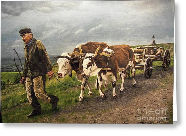 Angus Steer Paintings Greeting Cards - Heading Home Greeting Card by Deborah Strategier