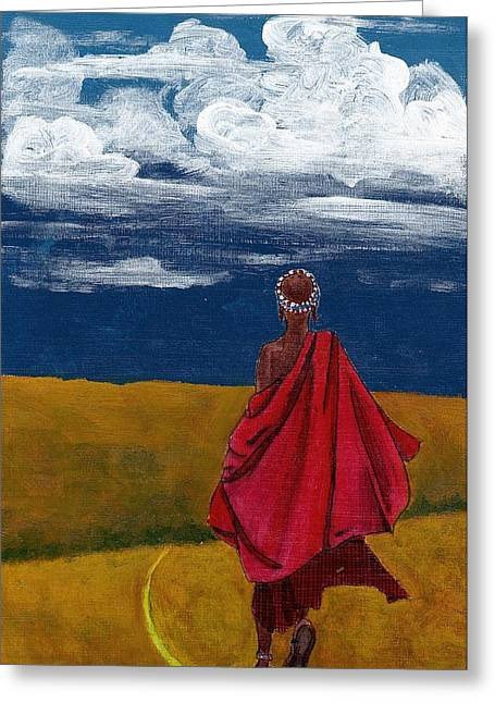 Ethnic Greeting Cards - Heading home Greeting Card by Edith Peterson-Watson