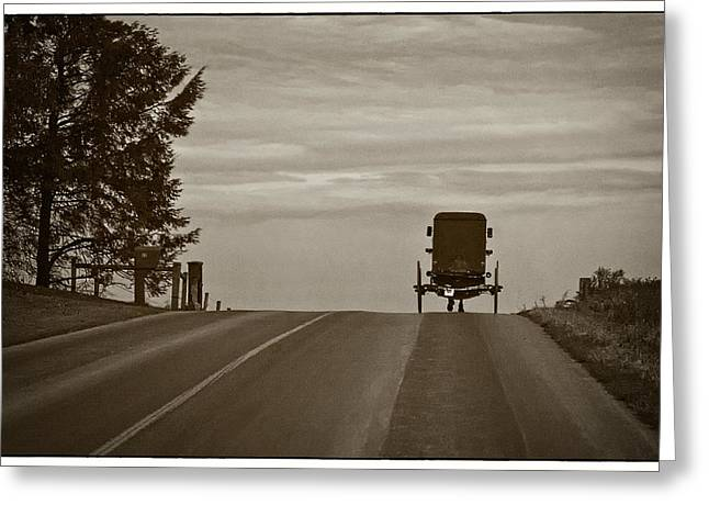 Horse And Buggy Greeting Cards - Heading Home in a Horse and Buggy Greeting Card by Priscilla Burgers