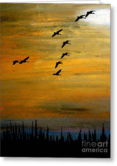 Bird Congregation Greeting Cards - Heading Into Gold Greeting Card by R Kyllo