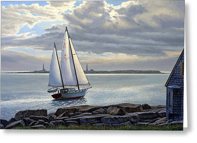 Harbor Paintings Greeting Cards - Heading Out-Close Hauled     Greeting Card by Paul Krapf