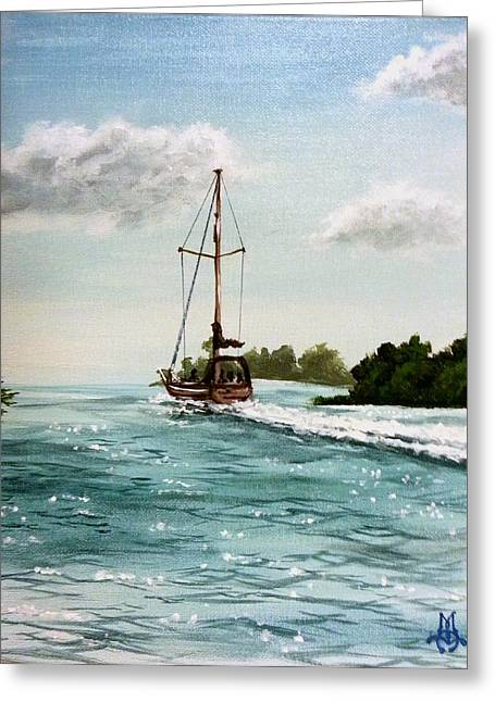 Sailboat Ocean Greeting Cards - Heading Out Greeting Card by Marco Antonio Aguilar