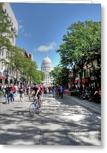 University Of Wisconsin Greeting Cards - Heading to Camp Randall Greeting Card by David Bearden