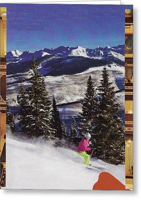 Skiing Christmas Cards Greeting Cards - Heading to the Mountains Greeting Card by Matthew Hoffman