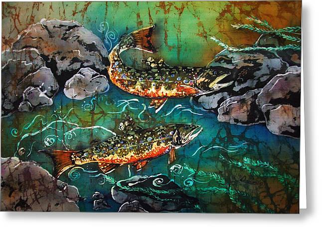 Stream Tapestries - Textiles Greeting Cards - Heading Upstream Greeting Card by Sue Duda