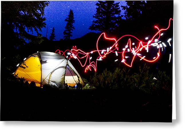 Backwoods Greeting Cards - Headlamp Art Greeting Card by Aaron Spong