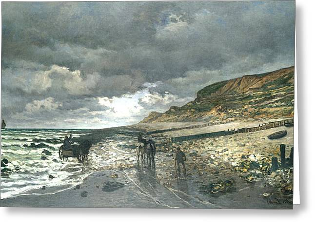 Storm On The Beach Greeting Cards - Headland Of The Heve At Low Tide Greeting Card by Claude Monet