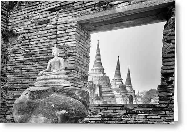 Historic Statue Greeting Cards - Headless Buddha at Wat Phra Si Sanphet Greeting Card by Paul W Sharpe Aka Wizard of Wonders