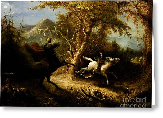 Headless Horseman Greeting Cards - Headless Horseman pursuing Ichabod Crane Greeting Card by Pg Reproductions