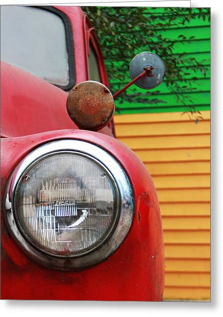 Rusted Cars Greeting Cards - Headlight Greeting Card by Kelly Hazel