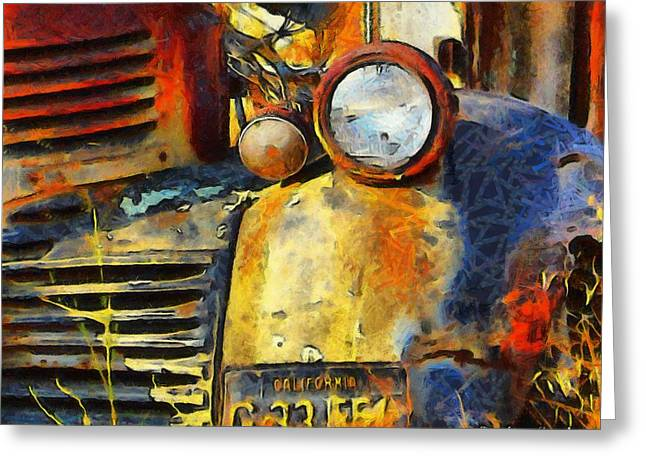 Vineyard Art Greeting Cards - Headlight On A Retired Relic Abstract Greeting Card by Barbara Snyder