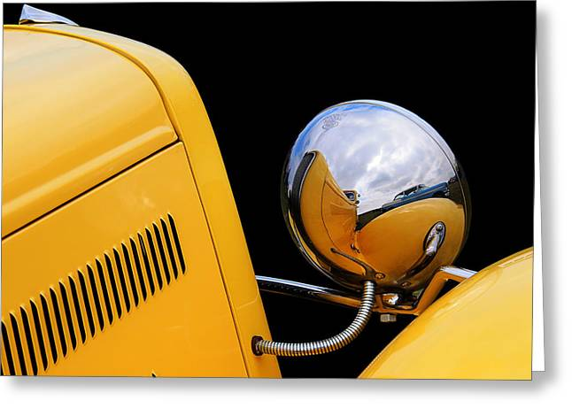 Deuce Coupe Greeting Cards - Headlight reflections in a 32 Ford Deuce Coupe Greeting Card by Gill Billington